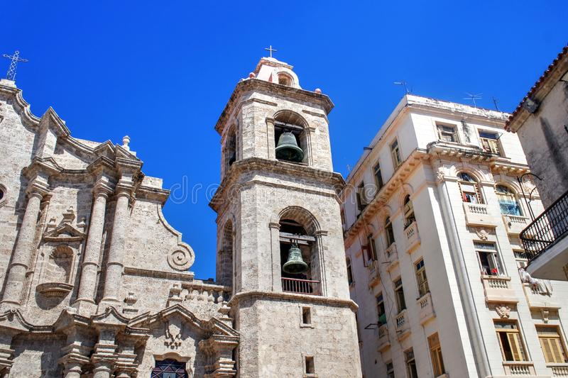 Gothic cathedral tower in Havana, Cuba stock photography