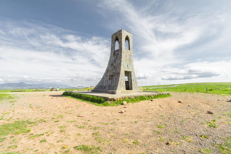 Bell tower and beautiful landscape view of Utsukushigahara is royalty free stock photography