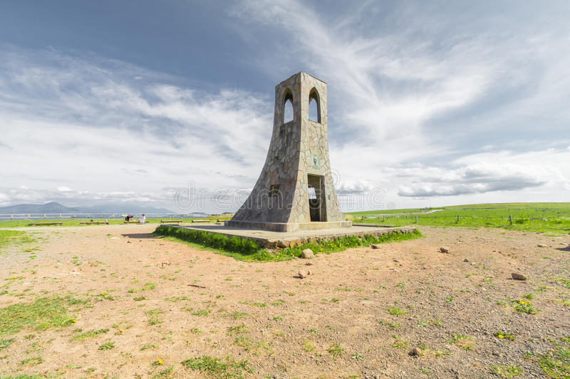 Bell tower and beautiful landscape view of Utsukushigahara is stock photography