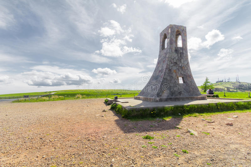 Bell tower and beautiful landscape view of Utsukushigahara park stock photography
