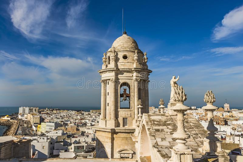 Bell tower of Cadiz Cathedral and aerial view of the western city and Bay of Cadiz stock images