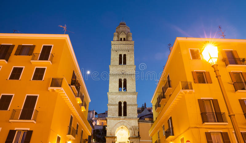 Bell tower of the Cathedral Basilica of Gaeta stock photography