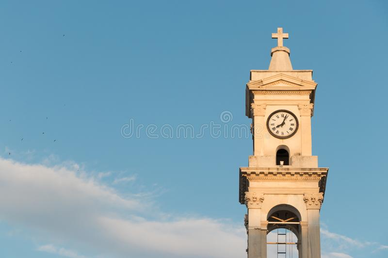 Bell Tower of the Cathedral Church of St. Nicholas in Volos, Greece. stock images
