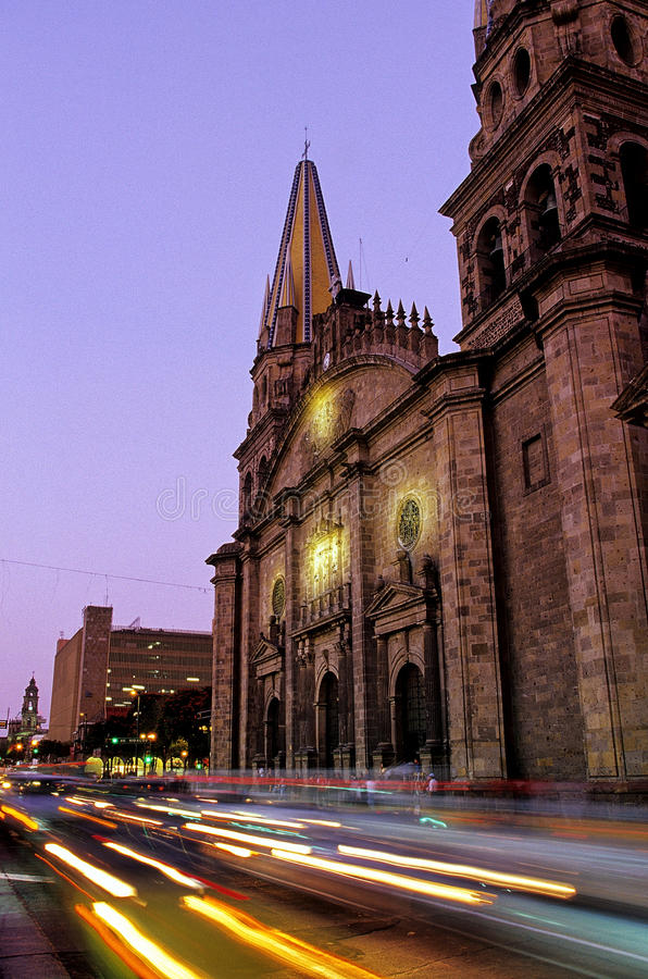 Bell-tower of Cathedral- Guadalajara, Mexico. Bell-tower of the 17th Cathedral- Guadalajara, Mexico royalty free stock images