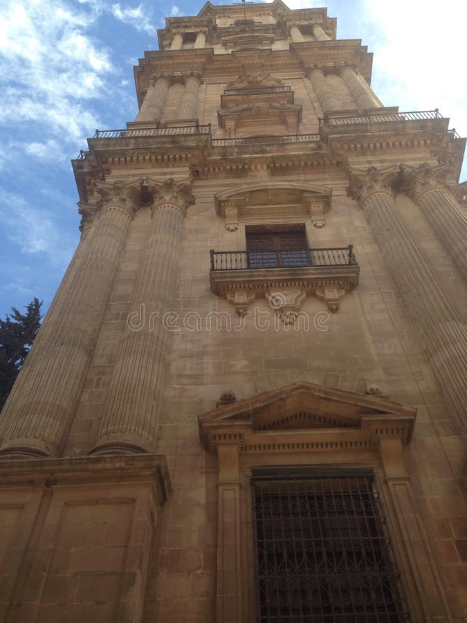 Bell tower of the Cathedral of the Incarnation in Malaga, Spain royalty free stock photos