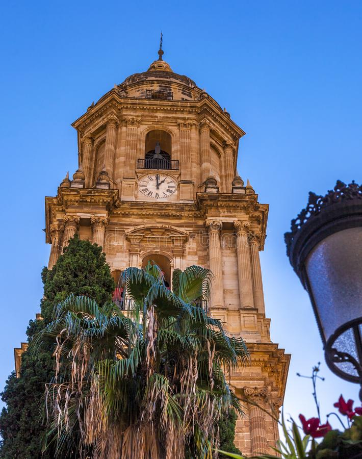 Bell tower of the Cathedral of Malaga, Spain stock photography