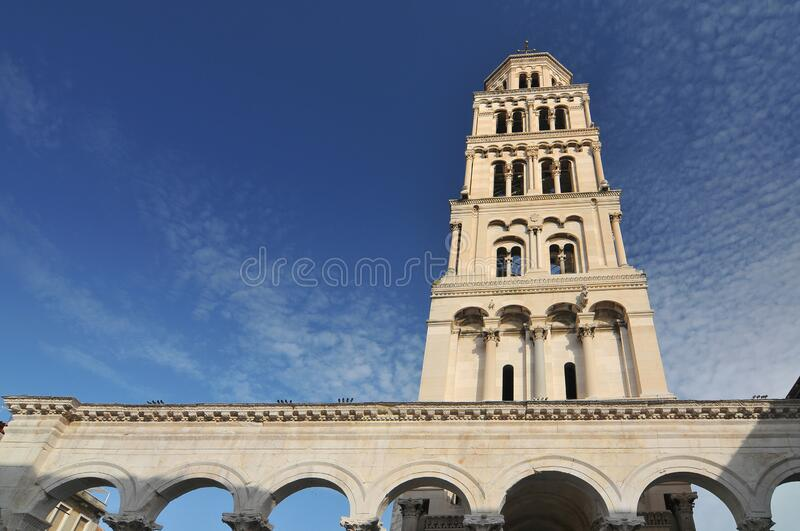 Bell Tower of Cathedral of Saint Dominius in Split, Croatia.  stock image
