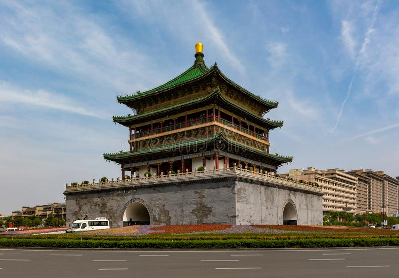 Bell Tower in Xi'an or Xian, China. Landmark and center of the ancient city royalty free stock images