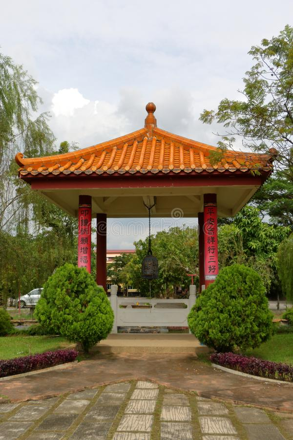 Chinese garden in a temple stock photos