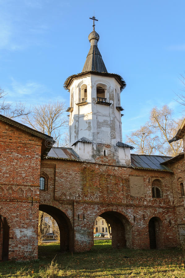 Bell tower of the church of the Annunciation at the Marketplace. In Veliky Novgorod royalty free stock photography