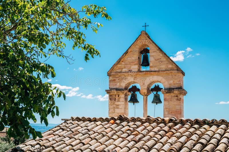 Bell tower of church in Assisi, Umbria, Italy. Assisi old town royalty free stock photography