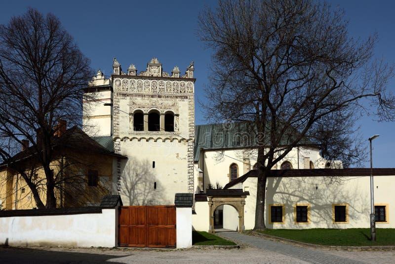 Bell-Tower & Church, Kezmarok, Slovakia stock photos