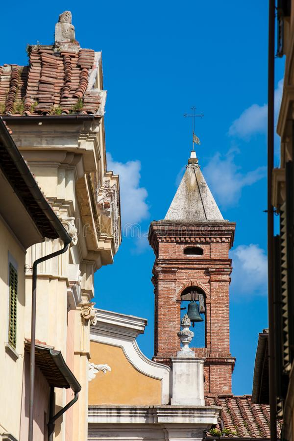 Bell tower of the Church of San Giuseppe built on 1710 in Pisa. The Bell tower of the Church of San Giuseppe built on 1710 in Pisa royalty free stock photos