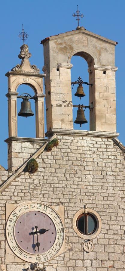 Bell tower with clock. Church of St. Barbara; Sibenik, Croatia stock photo
