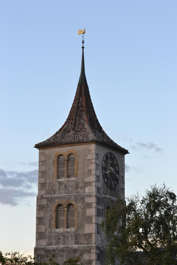 Bell Tower with clock of Neusatel stock images