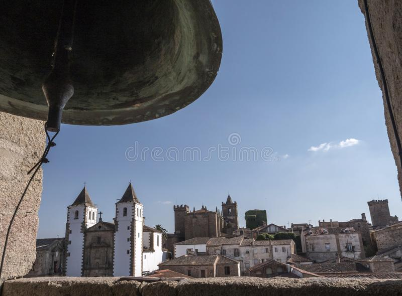 Bell Tower of Co-cathedral, panoramic view of the ancient city o stock image