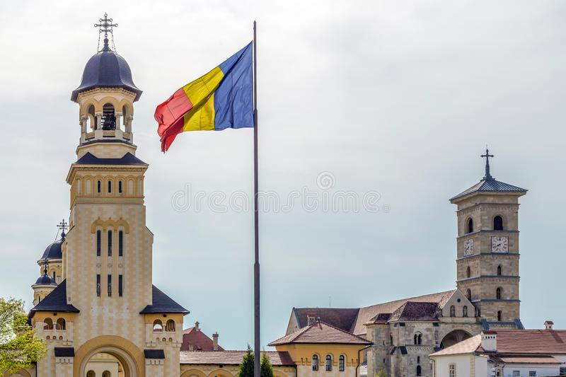Bell tower from Coronation Cathedral and Saint Michael Roman Cat. ALBA IULIA, ROMANIA - APRIL 29, 2018: View with Bell tower from Coronation Reunification royalty free stock photos