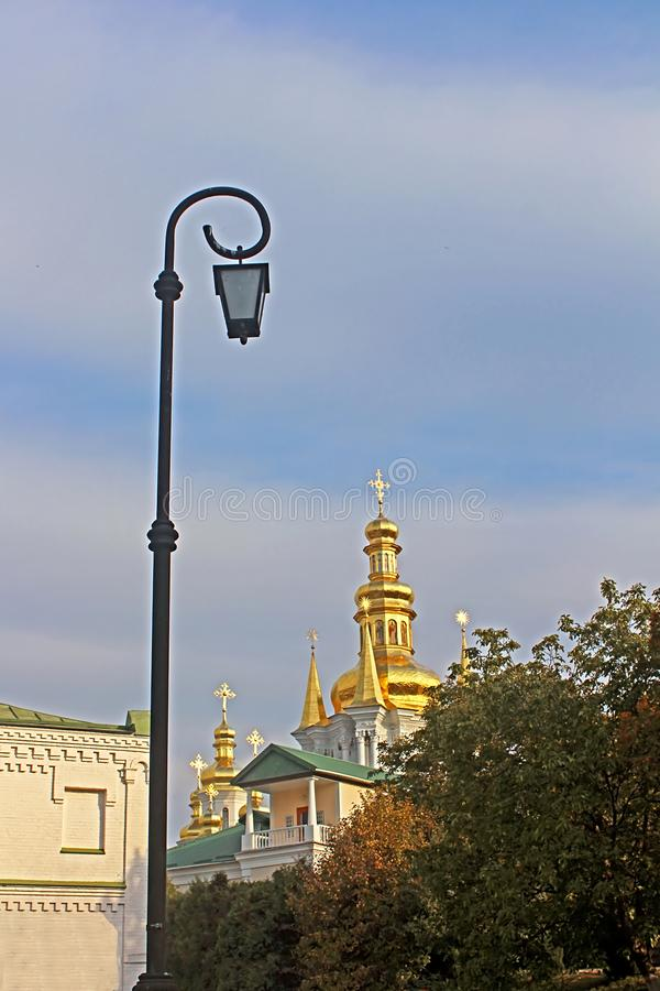 Bell Tower of Distant Caves and Church of Birth Blessed Virgin Holy Assumption of Kiev Pechrsk Lavra monestary royalty free stock images