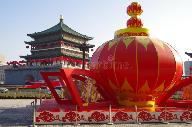 Xi `an bell tower and drum tower: a wonderful work of ancient architecture stock image