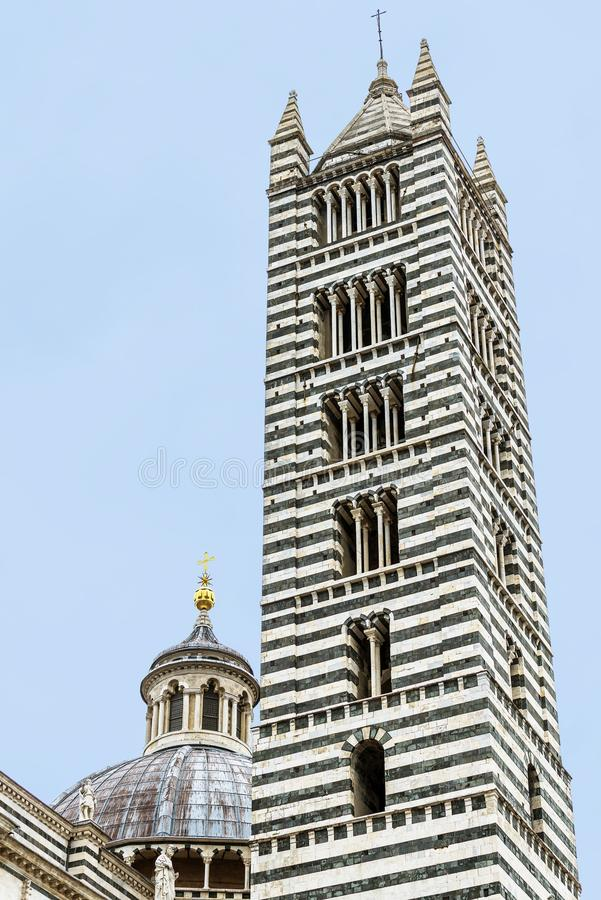 Bell tower of the Duomo of Siena royalty free stock photos