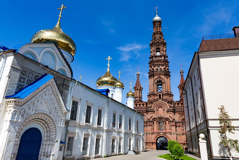 The bell tower of the Epiphany church in Kazan, Tatarstan, Russia stock photos
