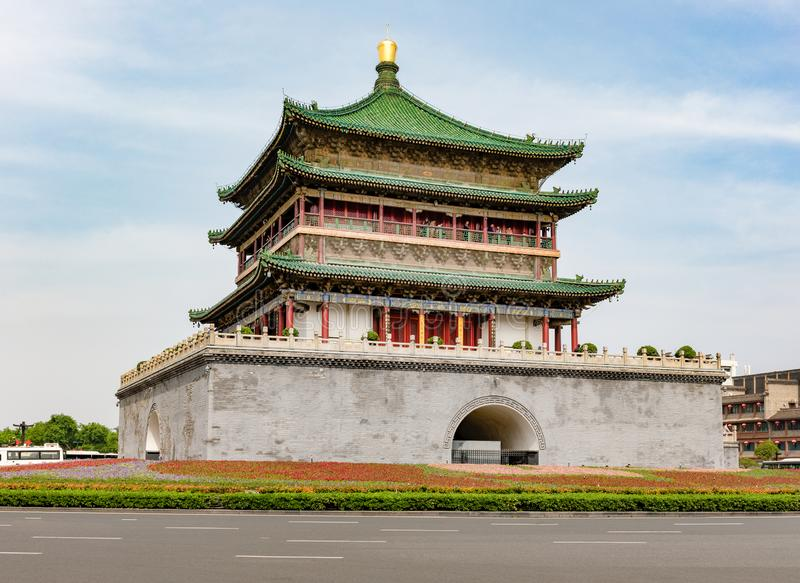 Bell Tower of the historic city of Xi'an or Xian, Shanxi, Chian. Built in 1384 and located in the center. The landmark and a symbol of the city stock images