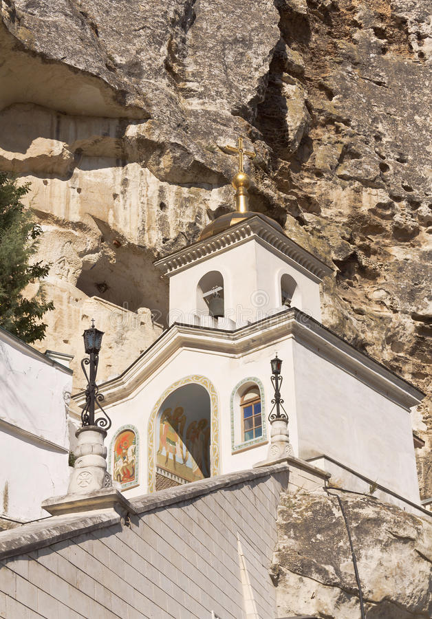 The bell tower of the Holy assumption monastery in Bakhchisarai. Crimea royalty free stock photo