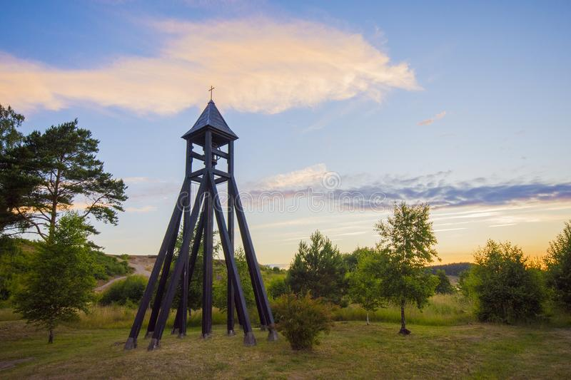 The Bell tower of kiviks chapell in sweden stock photography