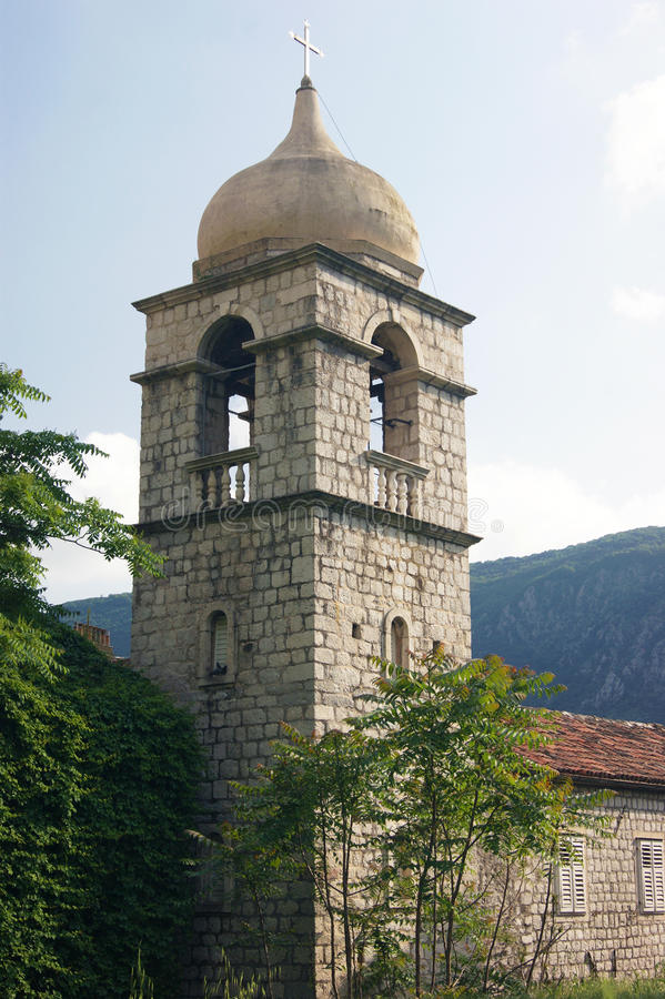 Bell tower in Kotor stock photography