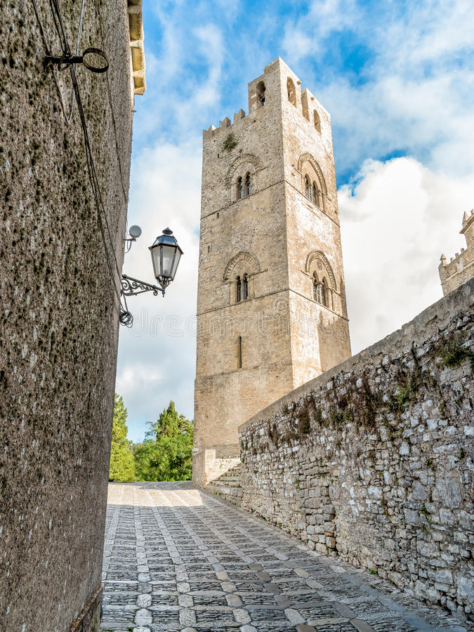 Bell Tower of the Main Cathedral of Erice in Sicily. View of the Bell Tower of the Main Cathedral of Erice in Sicily, Italy stock images