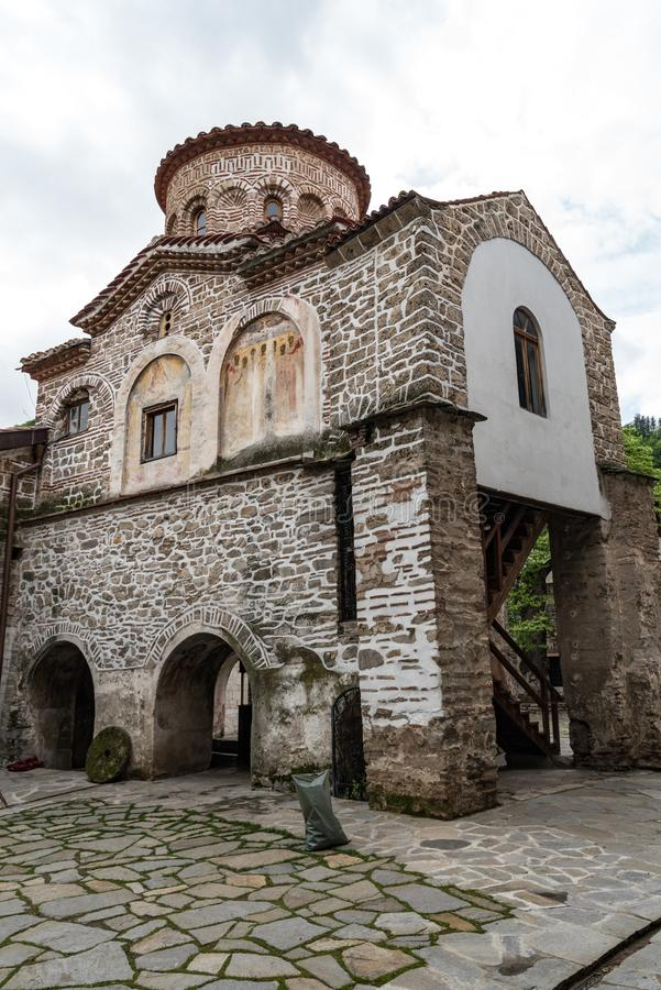 Bell Tower of medieval Bachkovo Monastery Dormition of the Mother of God. Bulgaria royalty free stock photography