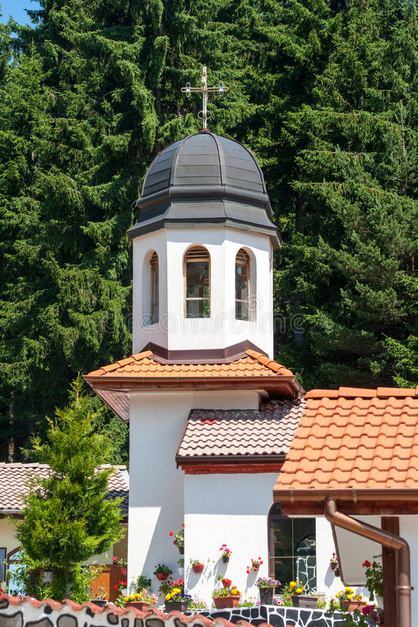 The bell tower of the monastery of Saint Panteleimon in the Rhodopes stock photos