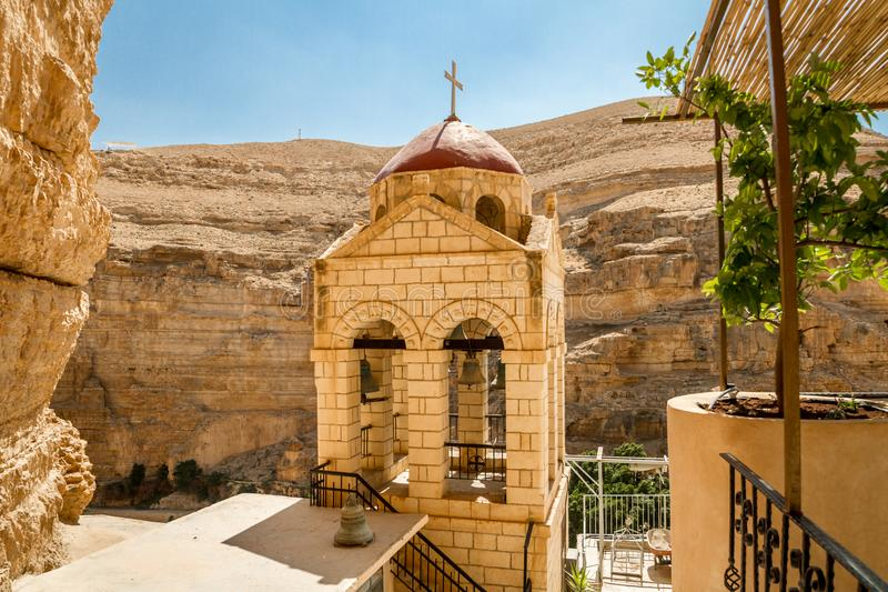 Bell tower of Monastery of St. George in Israel. Bell tower of the Greek Orthodox monastery of Saint George of Choziba in Judaean Desert near Jericho in the Holy stock photo