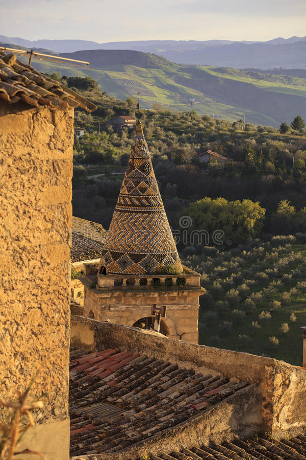 Bell tower of Mother church, Leonforte. View of the Bell tower of Mother church in Leonforte, Italy stock photo