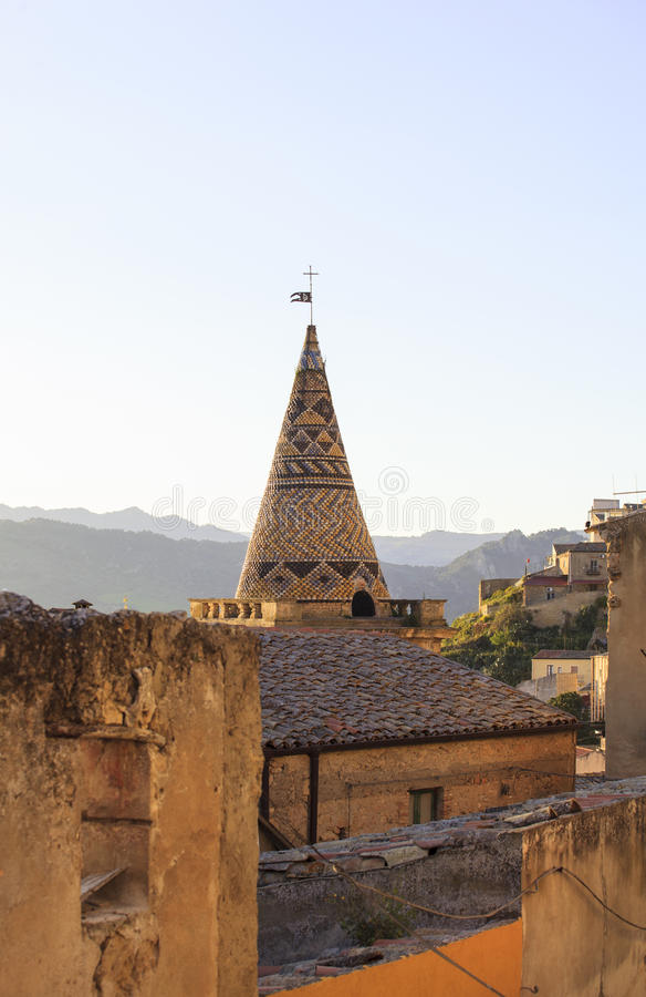 Bell tower of Mother church, Leonforte. View of the Bell tower of Mother church in Leonforte, Italy stock photography