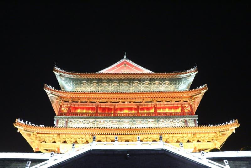Bell Tower at Night in Lintong, Xi`an, China royalty free stock image