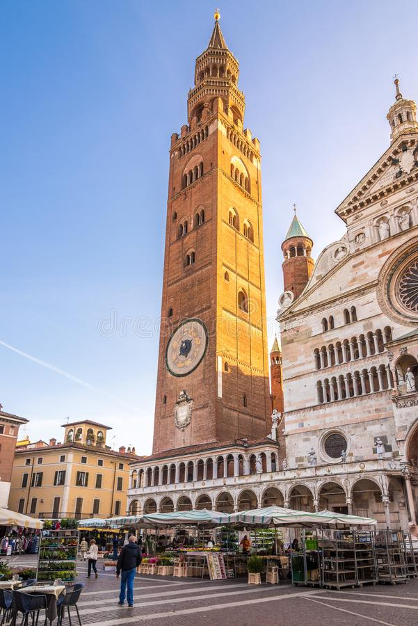 Free Bell Tower Of Cathedral Santa Maria Assunta In Cremona - Italy Royalty Free Stock Images - 133336419