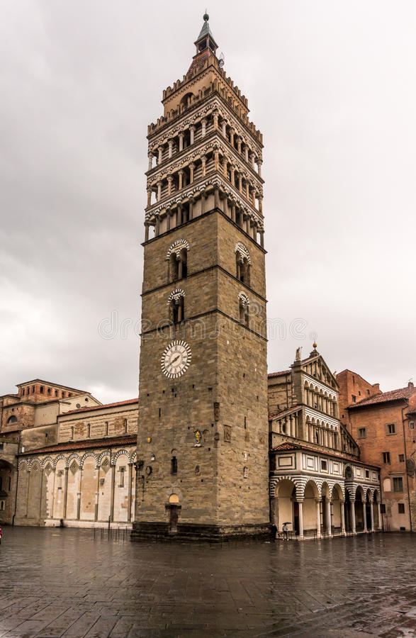 Bell tower in Pistoia, Italy. The bell tower and the Saint Zeno cathedral in Pistoia, Italy stock photography