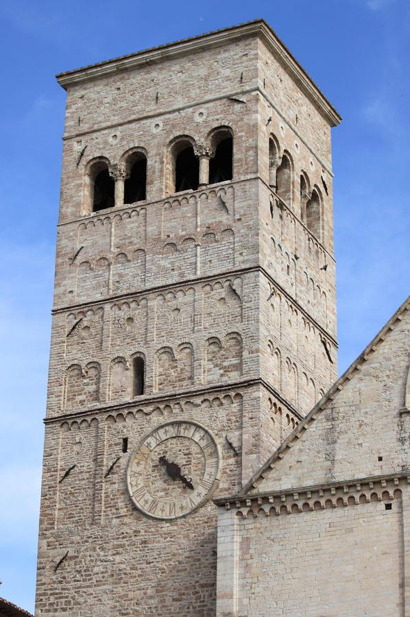 Bell tower of Saint Rufino Cathedral royalty free stock photos
