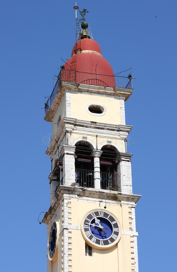 Bell tower of Saint Spiridon in Corfu stock photos