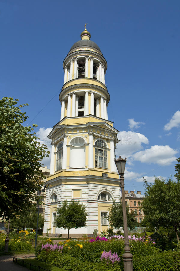 Bell tower of Saint Vladimir cathedral in St. Petersburg royalty free stock images