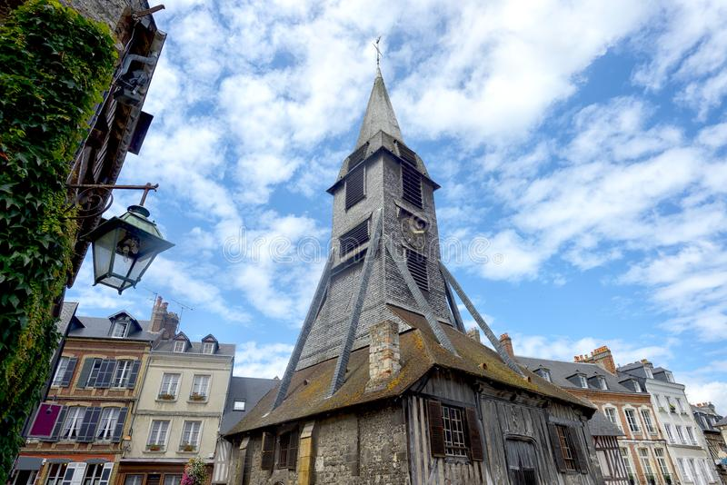 Bell tower of the Sainte Catherine church of Honfleur royalty free stock photos