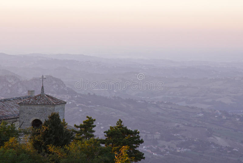 Bell Tower in San Marino stock photography