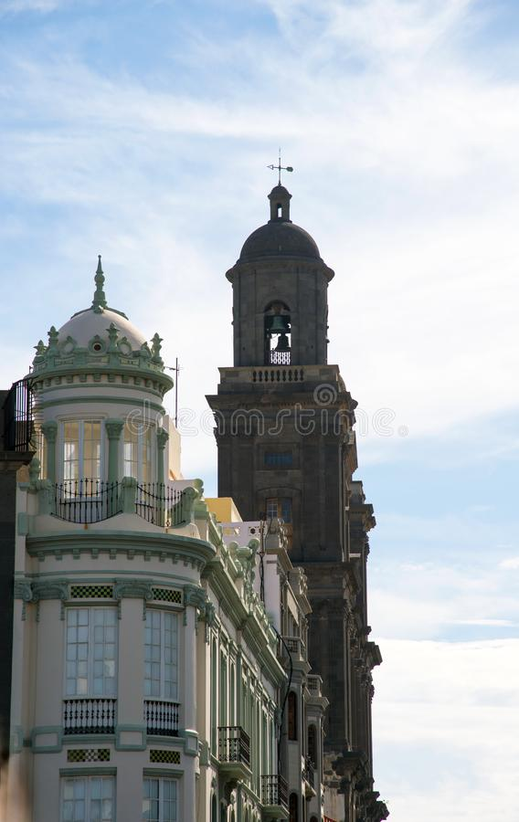Bell tower Santa Ana Cathedral in Las Palmas. Las Palmas, Gran Canaria, Spain - 31 December, 2017. Bell tower Santa Ana Cathedral or Cathedral of Las Palmas in stock photography
