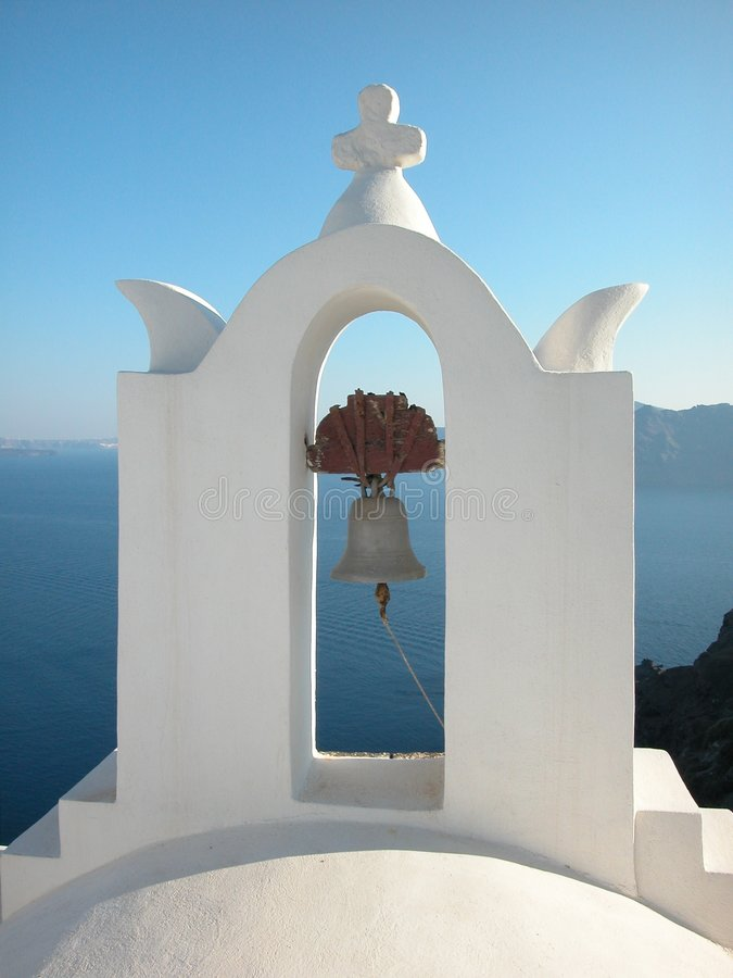 Bell tower, Santorini, Greece stock image