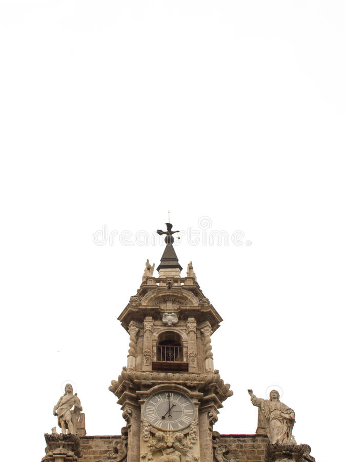 Bell tower of the sants joans church in Valencia, Spain stock images