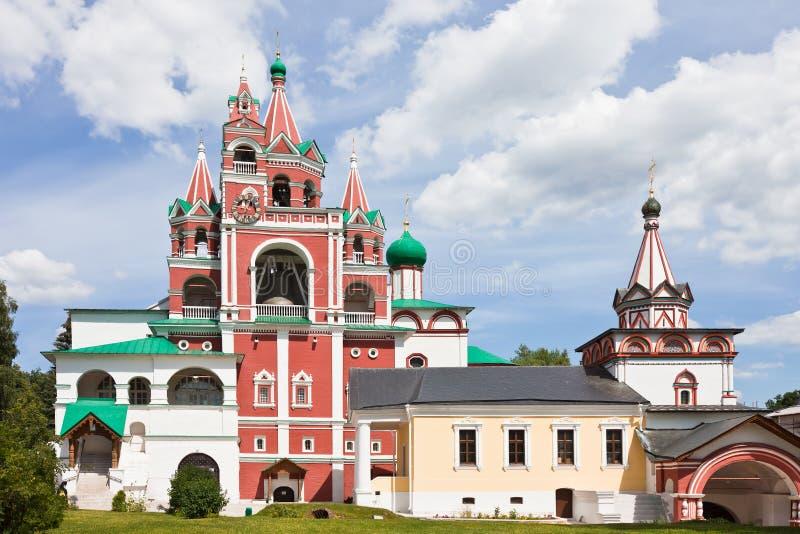 Bell tower in Savvino-Storozhevsky Monastery in Zvenigorod stock photo