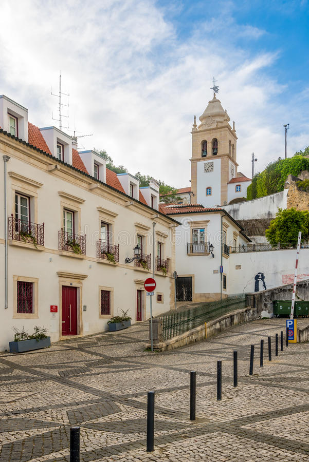 Bell tower Sineira near Cathedral of Leiria in Portugal. LEIRIA,PORTUGAL - MAY 11,2017 - Bell tower Sineira near Cathedral of Leiria in Portugal. Leiria is royalty free stock photography