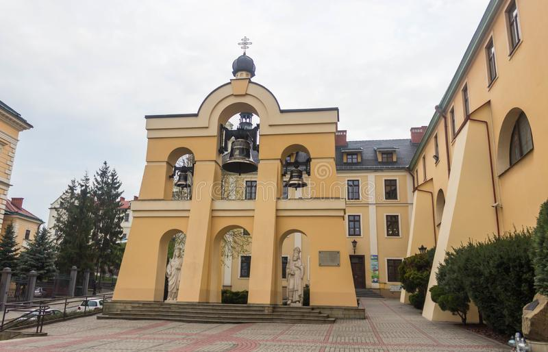 Bell tower on site of the Greek Catholic Cathedral of St John the Baptist. Przemysl, Poland, - April 13, 2019. Bell tower on site of the Greek Catholic Cathedral stock photos