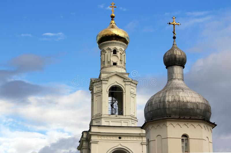 Bell tower of St. George`s Yuriev Monastery in Novgorod the Great Novgorod Veliky, Russia stock photos